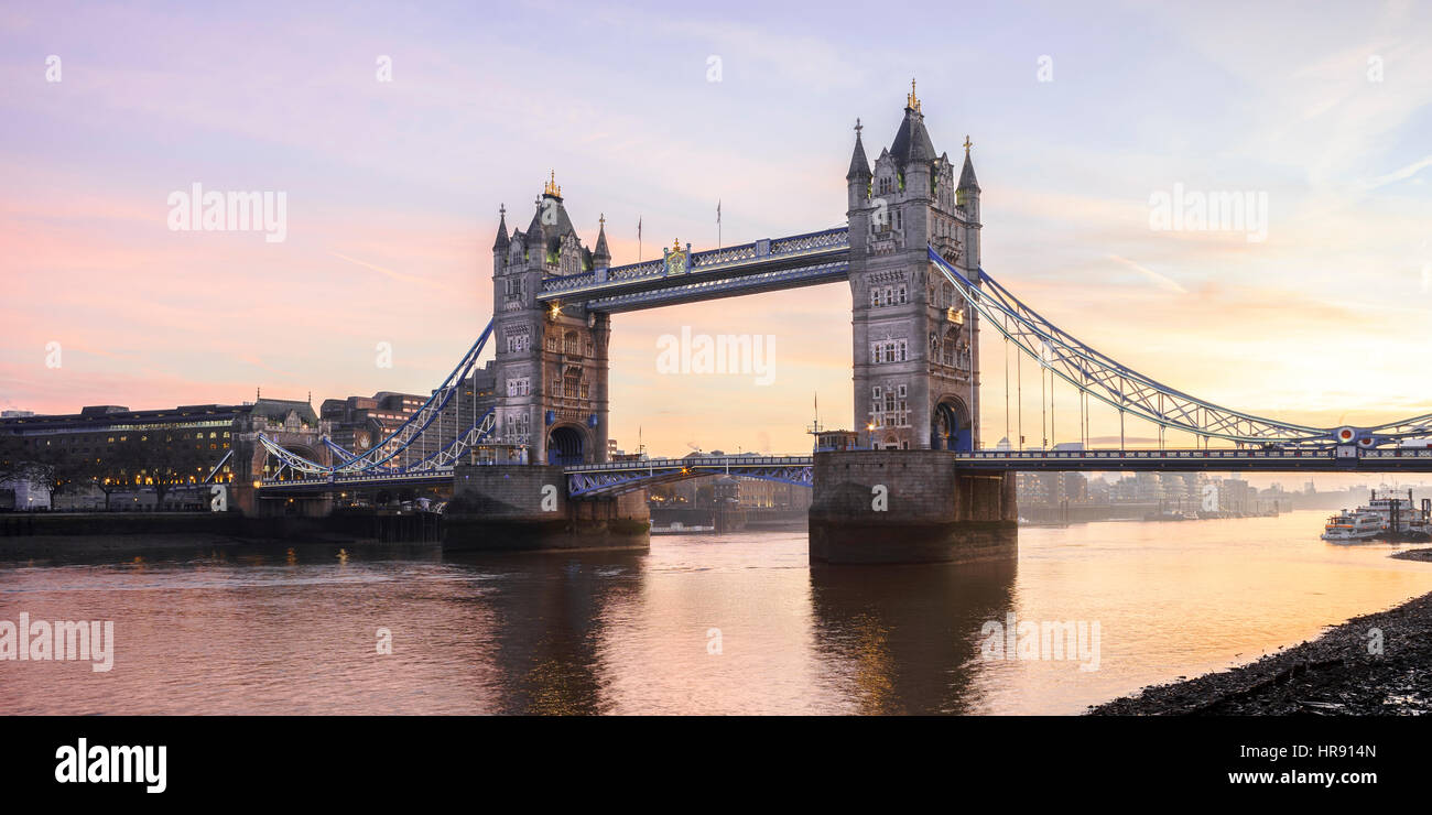 Panoramic view of Tower Bridge and River Thames, London, UK - Stock Image