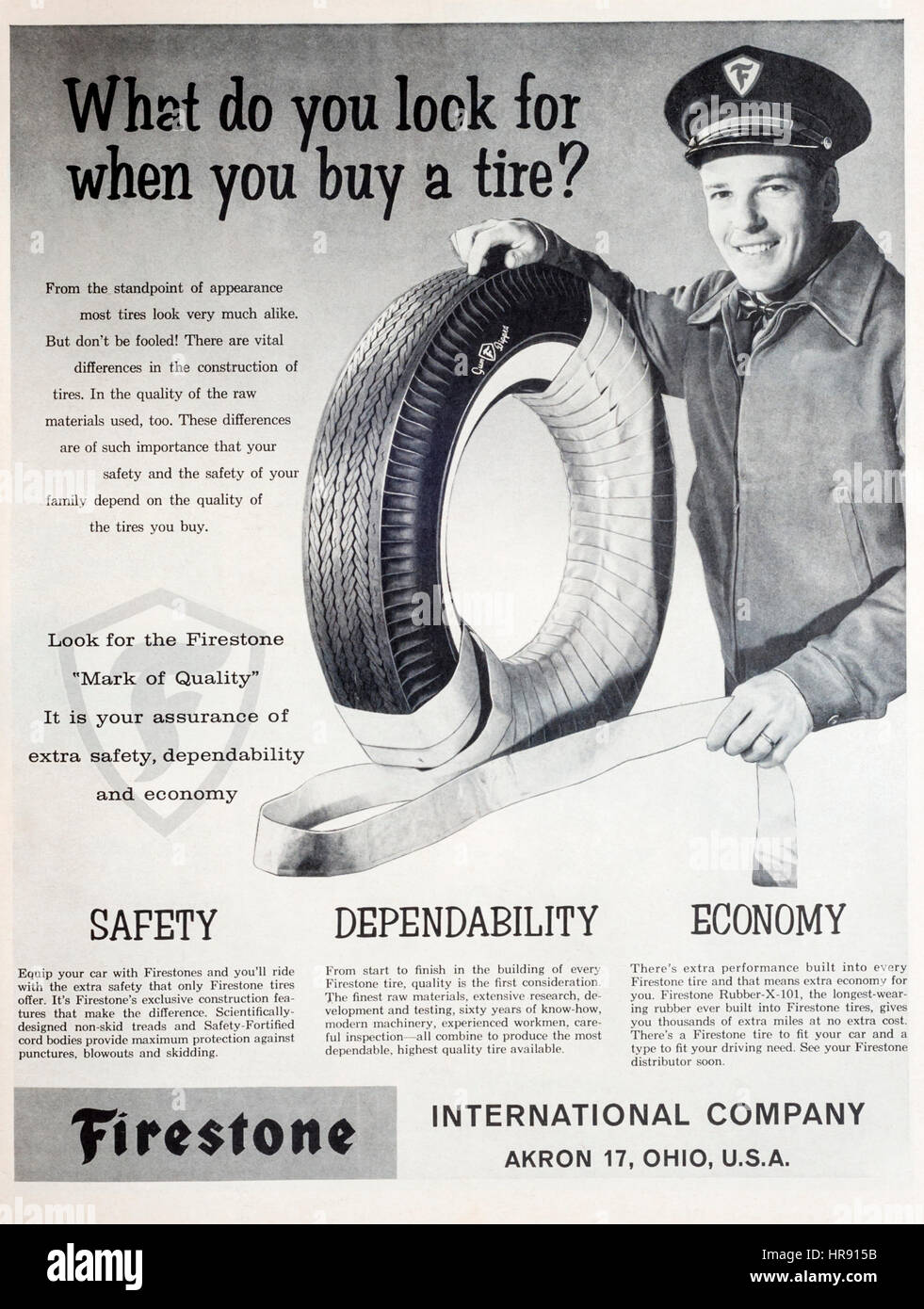 1960s magazine advertisement for Firestone tires or tyres. - Stock Image