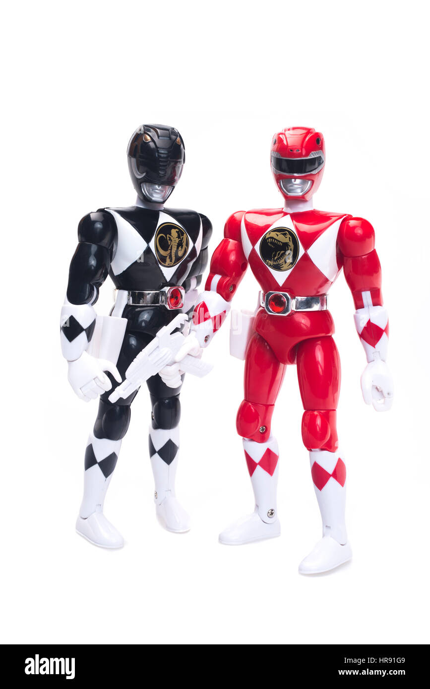 1993 Mighty Morphin Power Rangers 8' Action Figures Red & Black from TV / movie by Bandai - Stock Image