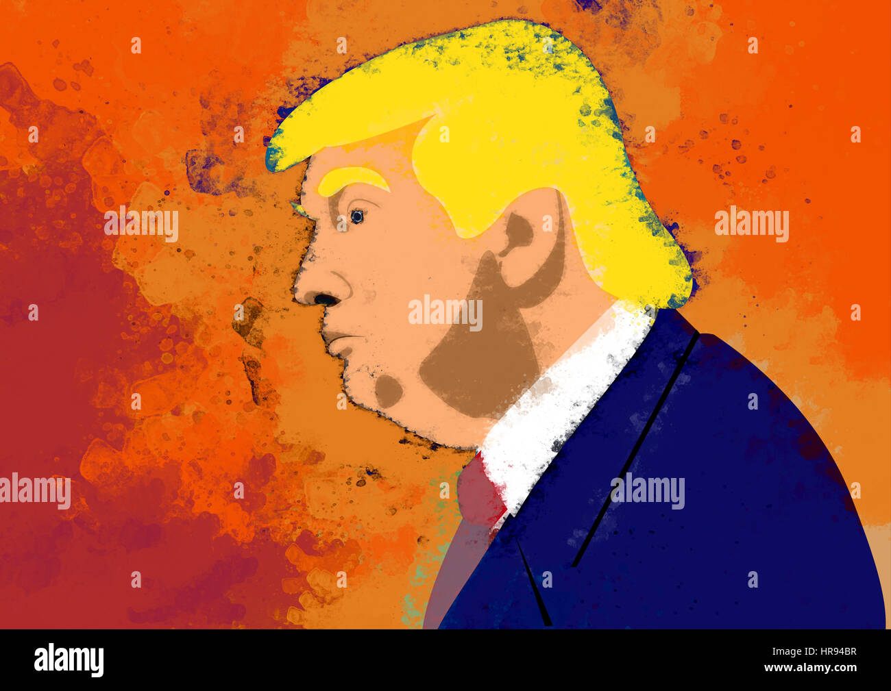 Donald Trump, president of USA, painted portrait - Stock Image