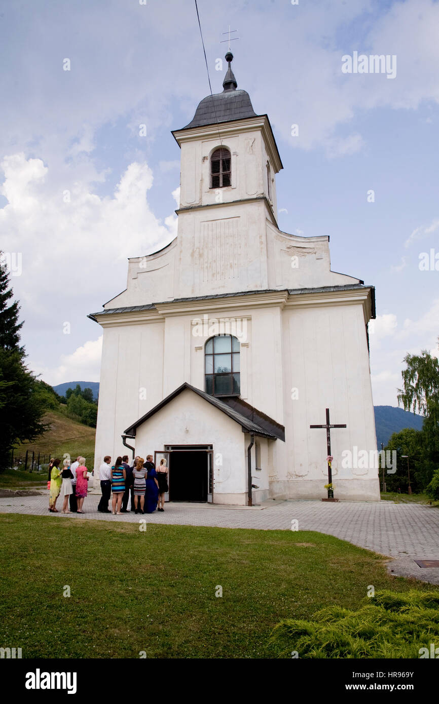 Slovakian wedding day in Evangelic church - Stock Image