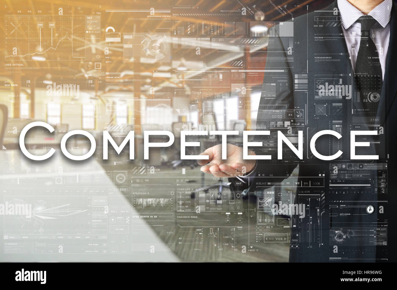 Businessman showing text by his hand: Competence - Stock Image