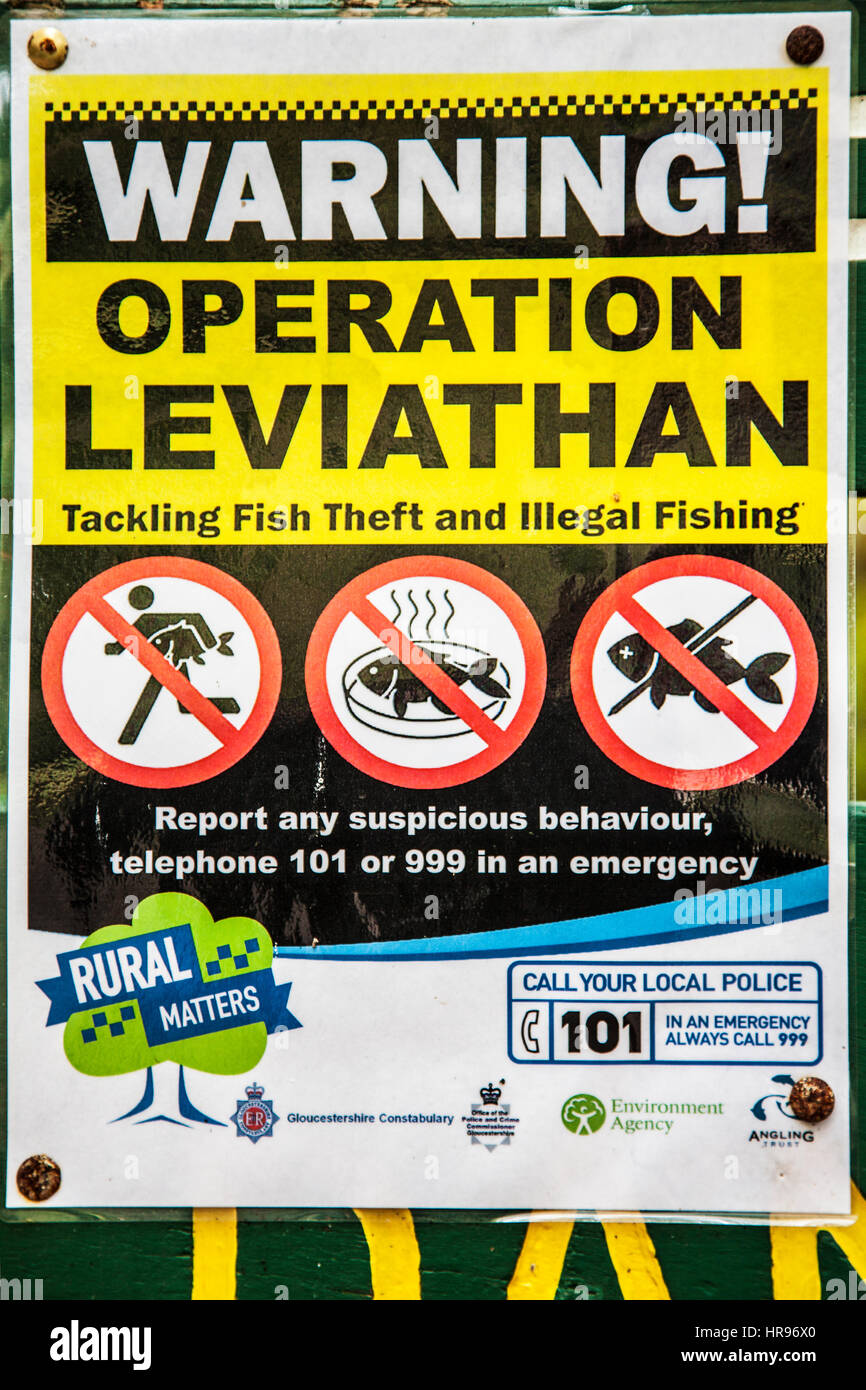 Fishing theft warning notice in the Forest of Dean, Gloucestershire. - Stock Image
