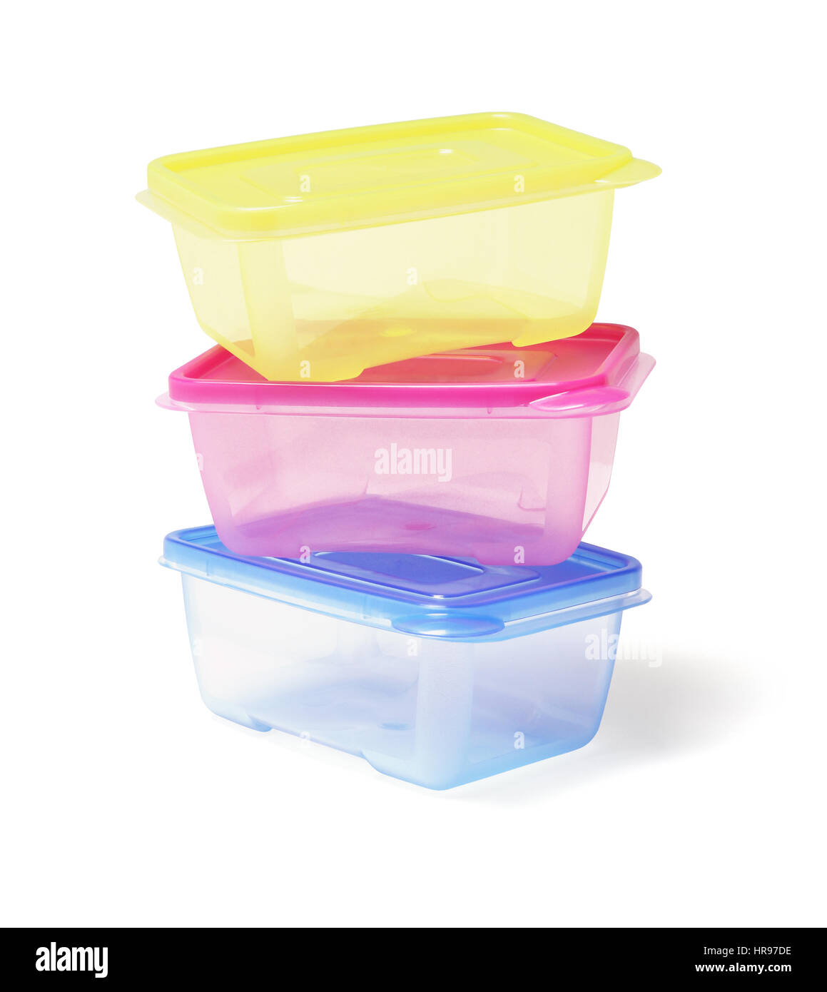 Stack Of Colourful Plastic Containers On White Background   Stock Image