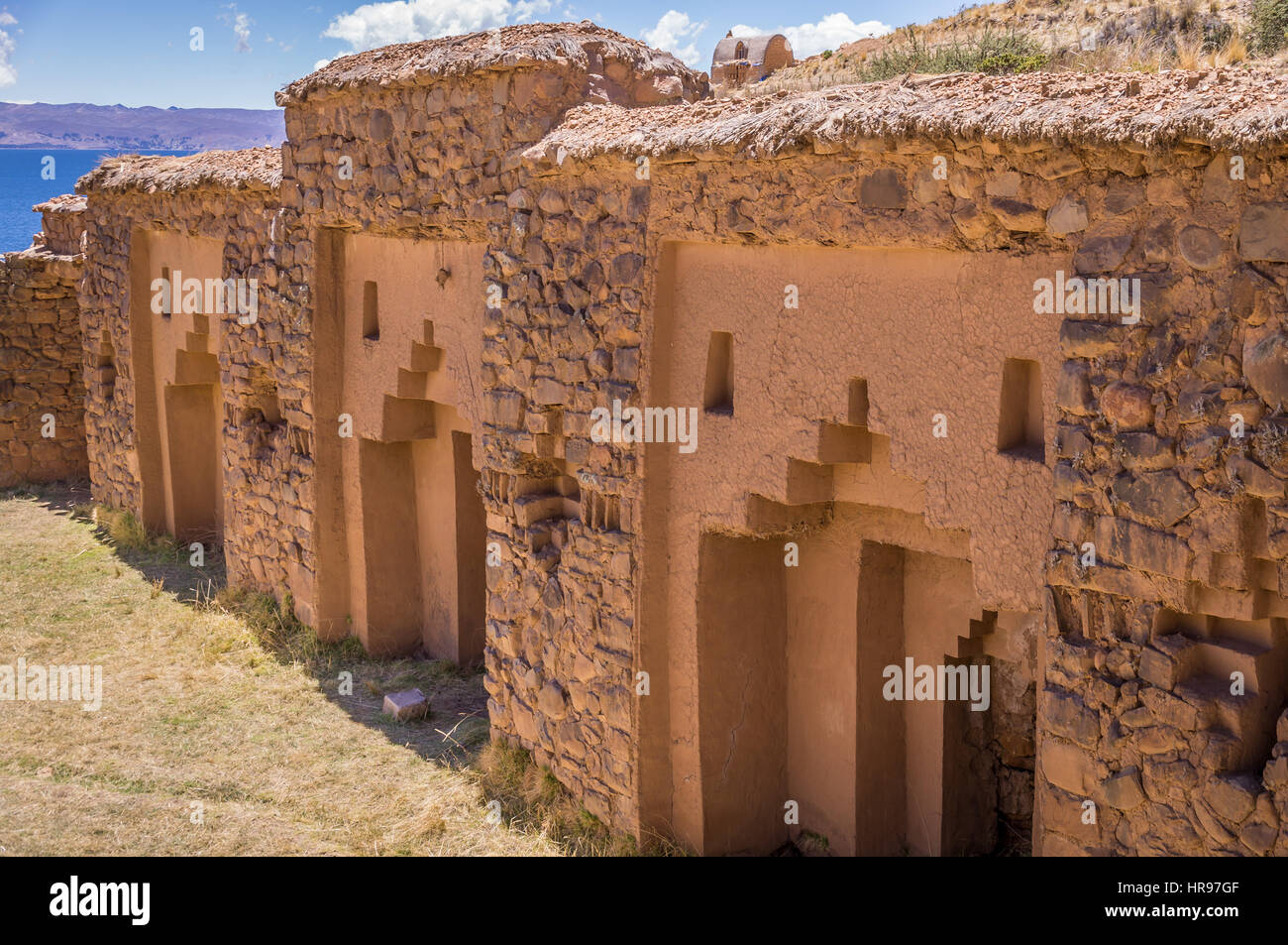 Detail of Inca ruins of Temple of the Virgins of the sun on Isla de la Luna, Lake Titicaca, Bolivia. - Stock Image