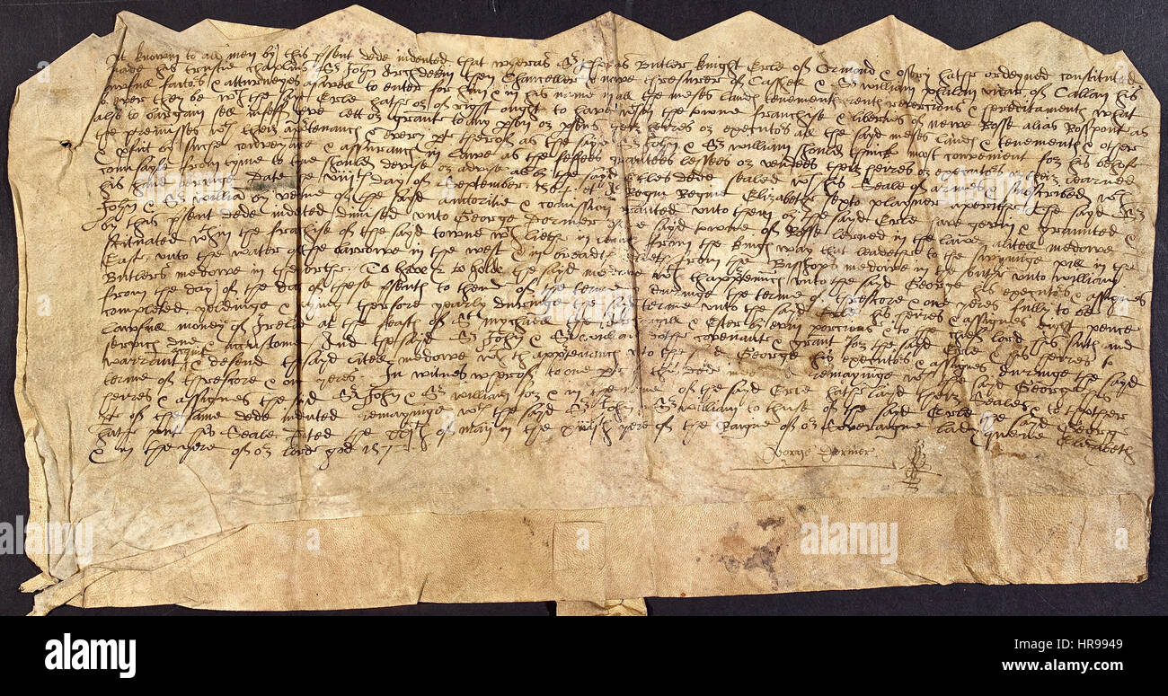 Document from New Ross, Ireland concerning the acquisition in 1572 by George Dormer of a field. A typed version - Stock Image