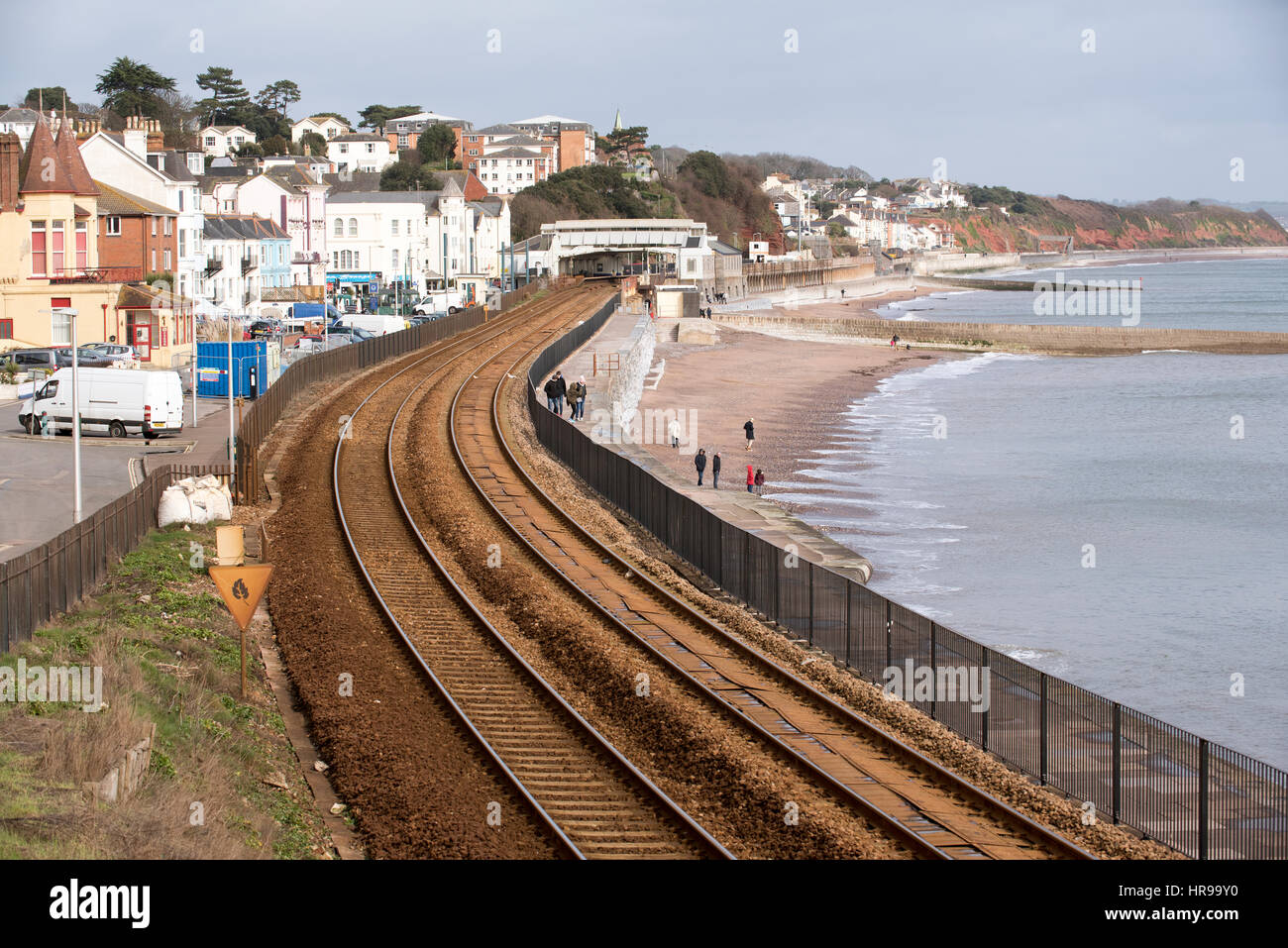 Railway lines run along the coast at Dawlish a seaside resort in south Devon England UK - Stock Image