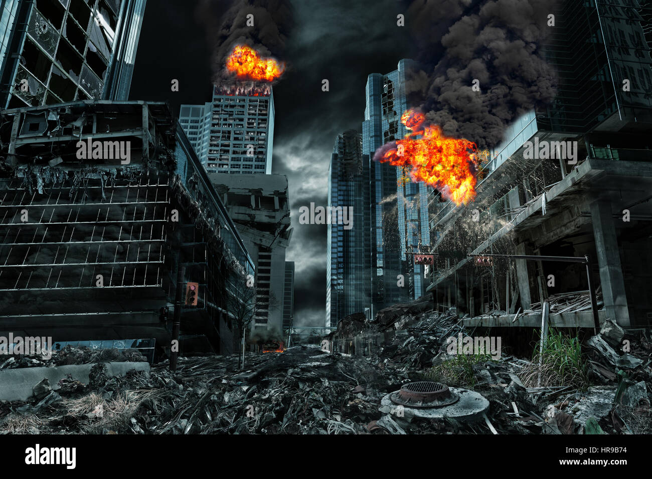 Detailed destruction of fictitious city with fires, explosions, debris and collapsing structures. Concept of war, - Stock Image