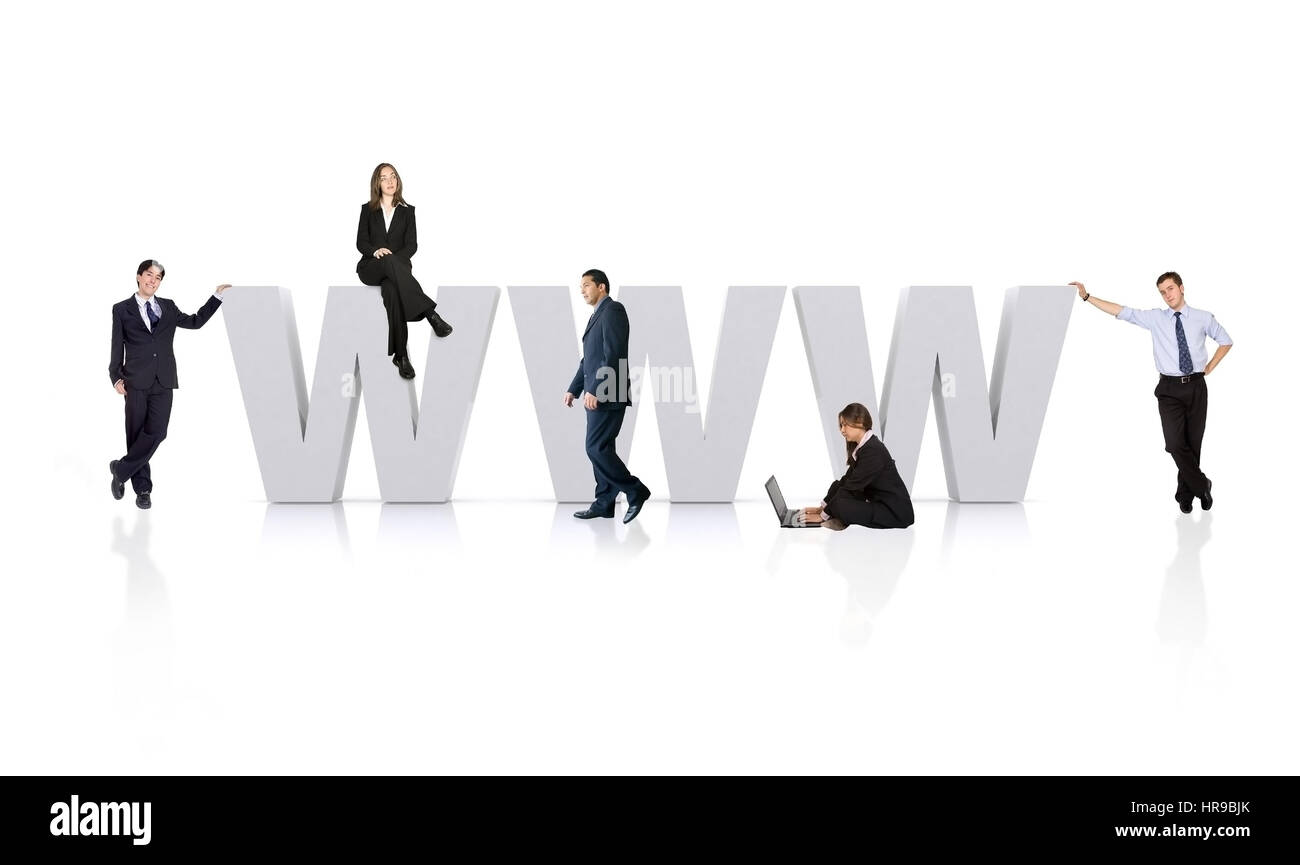 business people around the www - world wide web - Stock Image