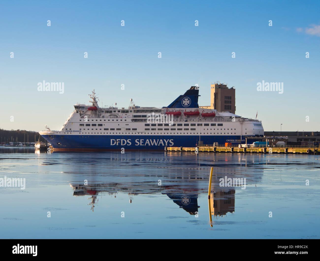 DFDS Seaways operate passenger and car ferries between the Scandinavian capitals Copenhagen and Oslo, here docked - Stock Image