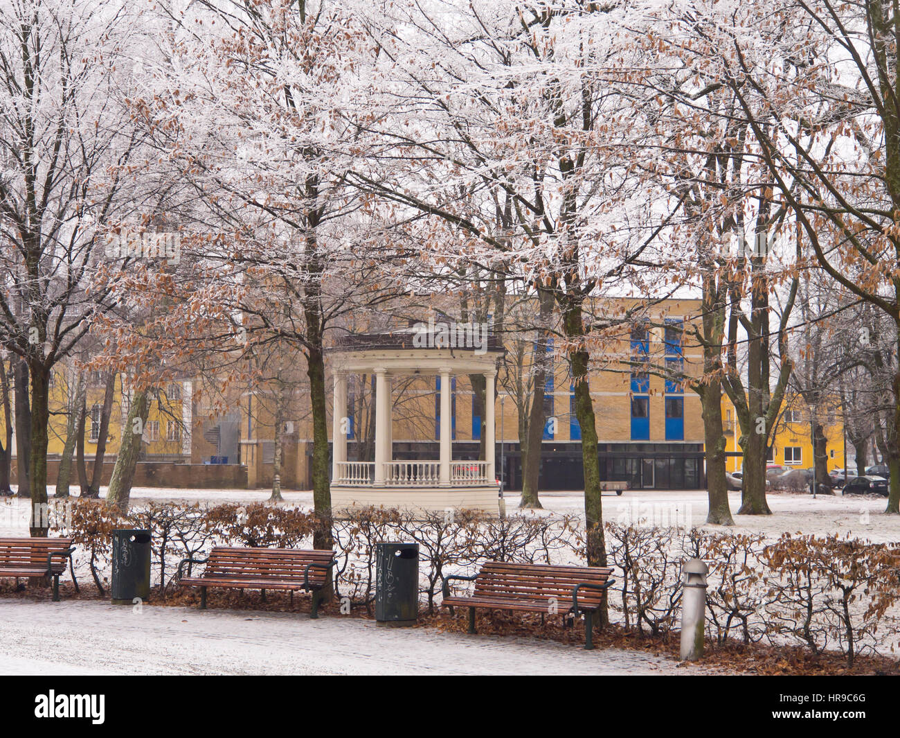 Drammen town park with its circular music pavilion on an idyllic snowy winter day, in Buskerud Norway west of Oslo Stock Photo