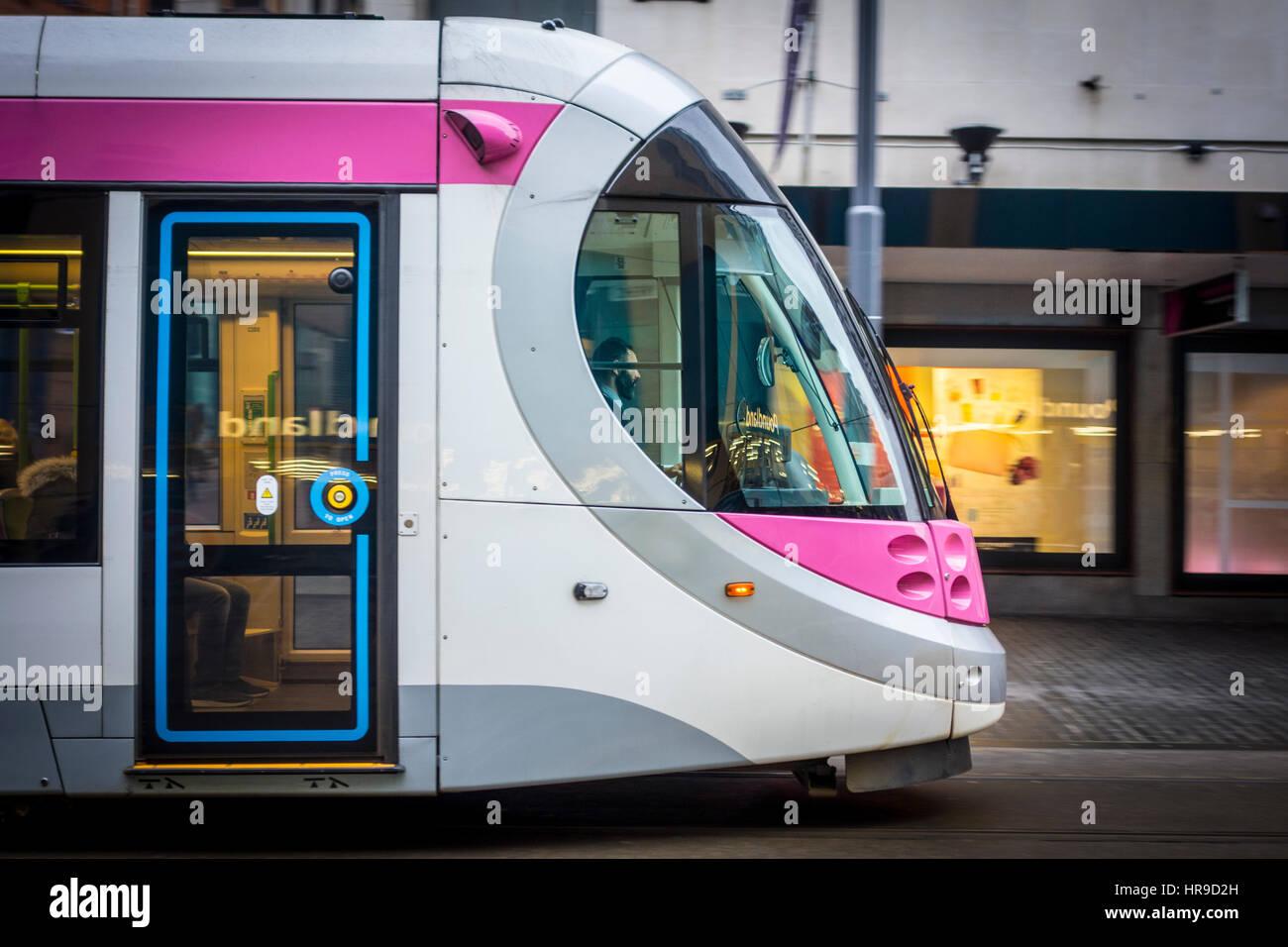 Birmingham Tram, Corporation Street Birmingham, UK - Stock Image