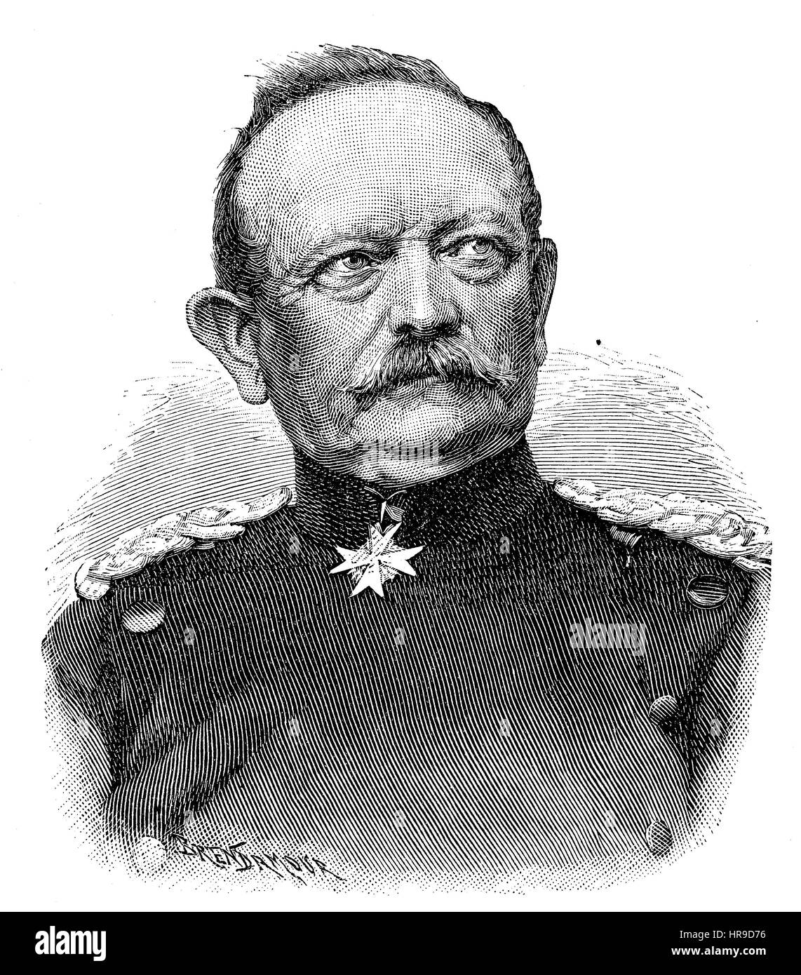 Eduard Friedrich Karl von Fransecky, 1807 - 1890, was Prussian general who served in the Austro-Prussian War and - Stock Image