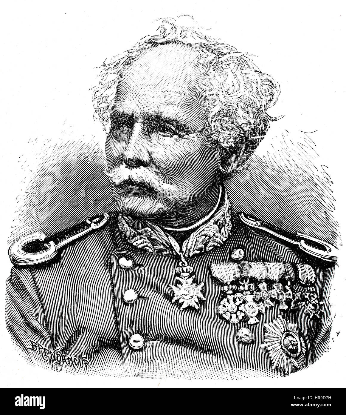 Julius Hartwig Friedrich von Hartmann, 1817 - 1878, Was a Prussian general of the cavalry, Situation from the time - Stock Image