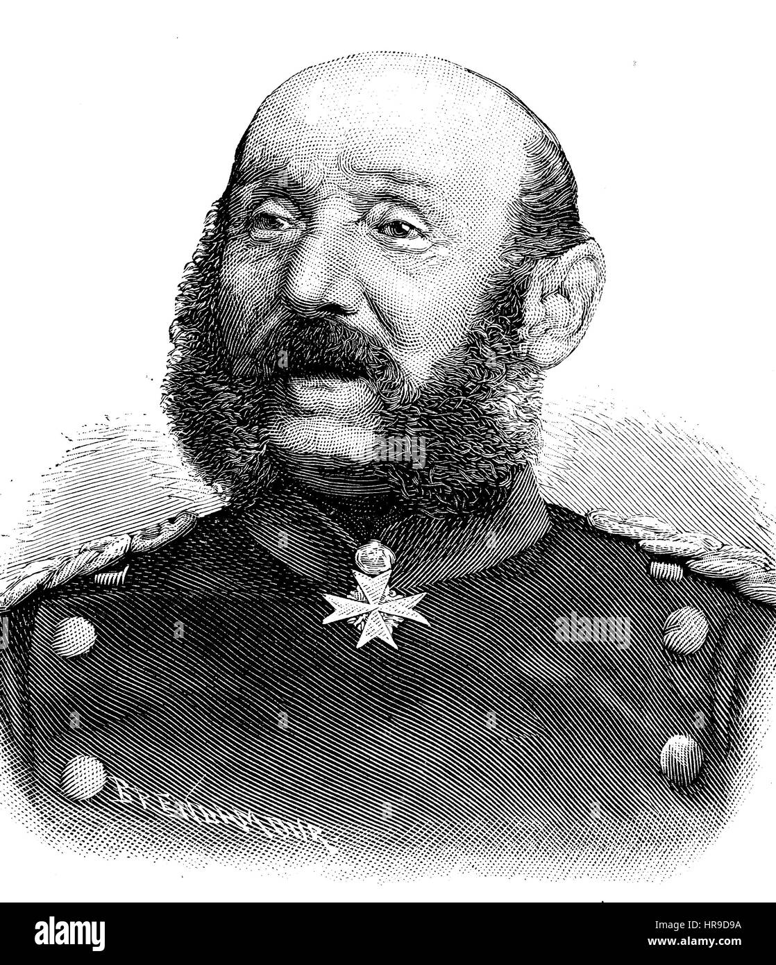Albert Ehrenreich Gustav von Manstein, 1805 - 1877, was a Prussian general who served during the Austro-Prussian - Stock Image