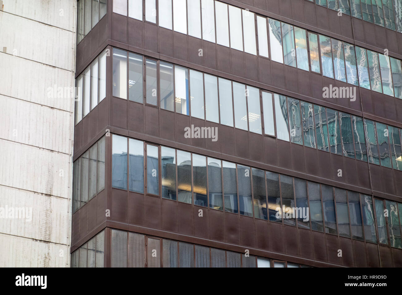 Brutalist architecture of University of Westminster, 115 New Cavendish Street, Fitzrovia, London. modern concrete - Stock Image