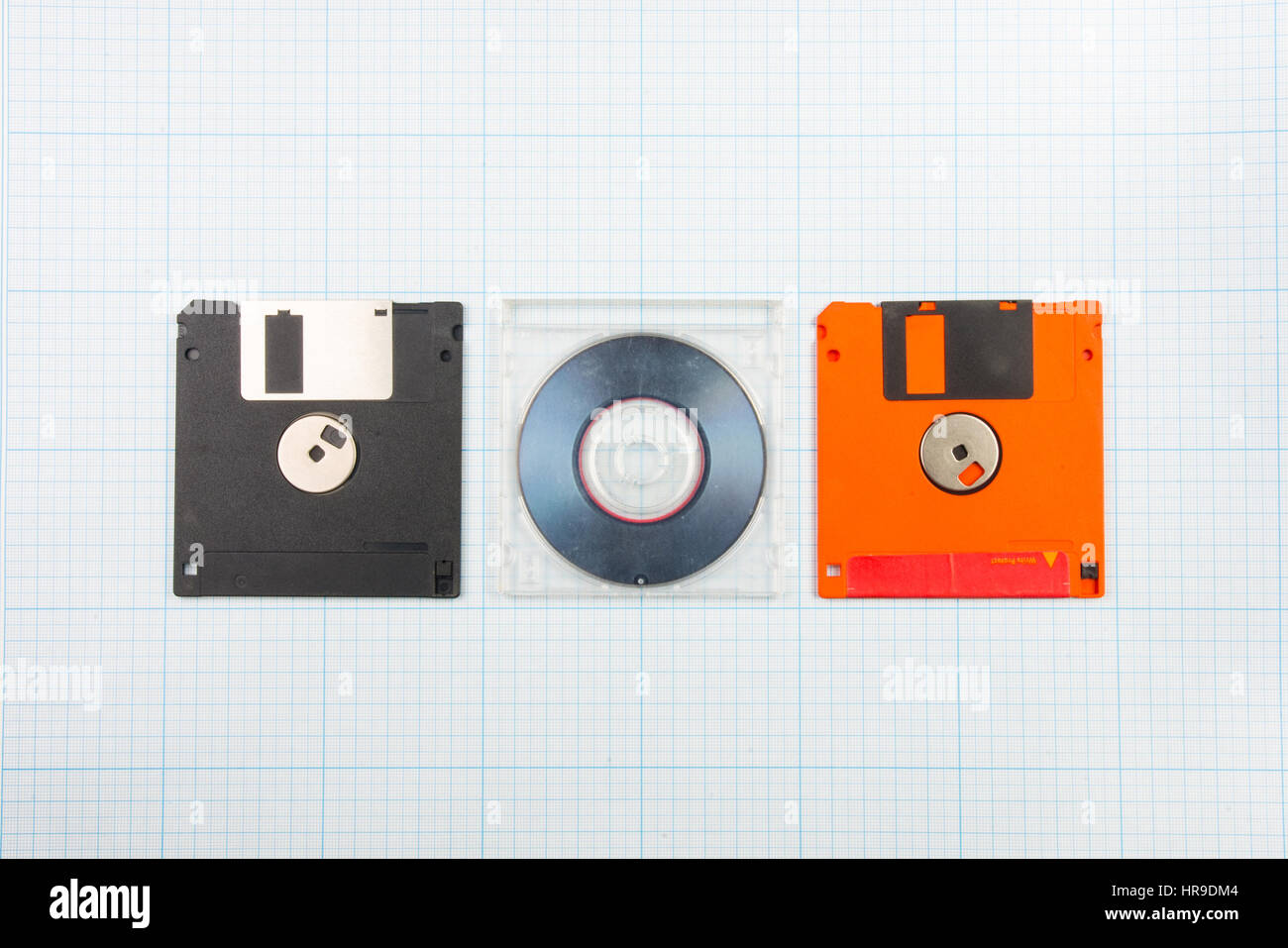vintage background computer floppy disks and mini cd on the stock
