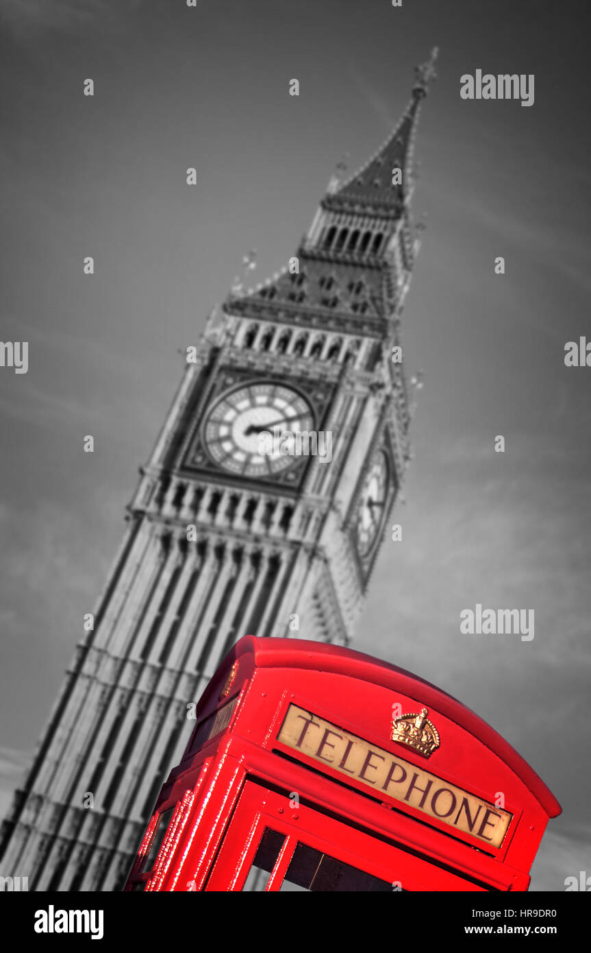Red telephone box and Big Ben, London, UK - Stock Image