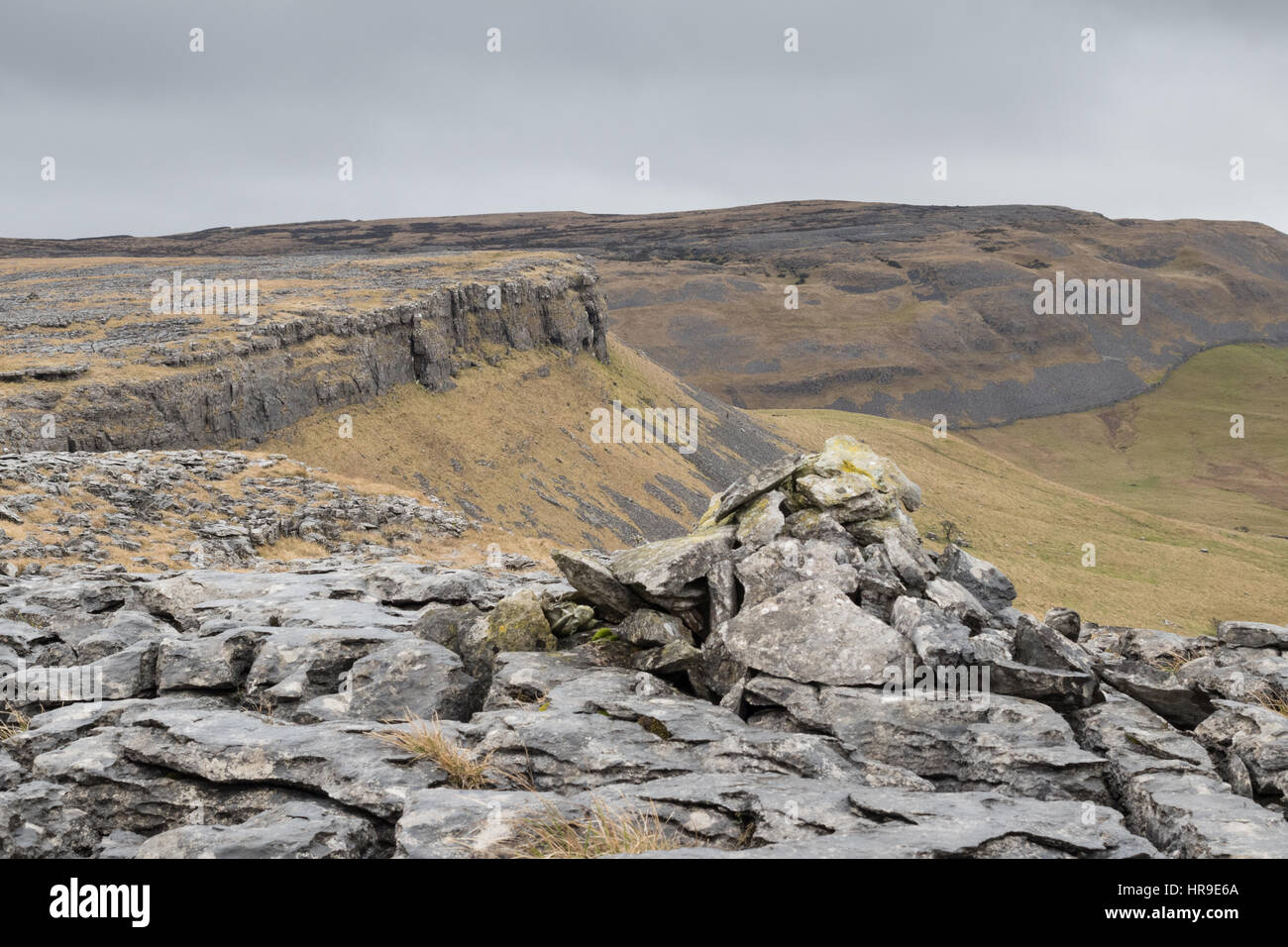 The view from Moughton Scars Stock Photo