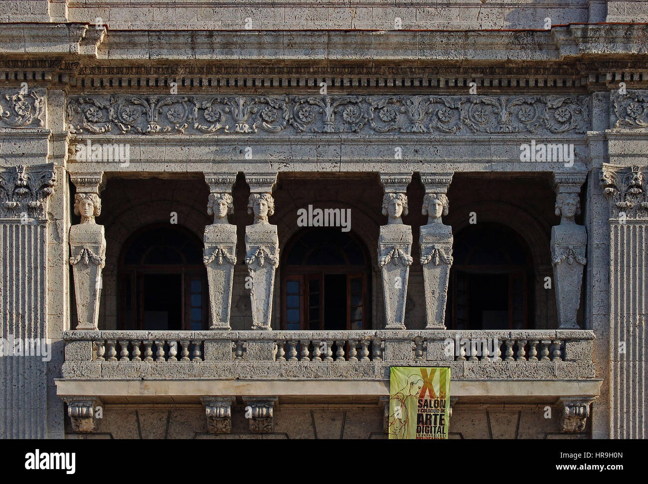 Detail of the Six Caryatid Sculptures on the Caryatid Building.  the Malecon, Havana, Cuba - Stock Image