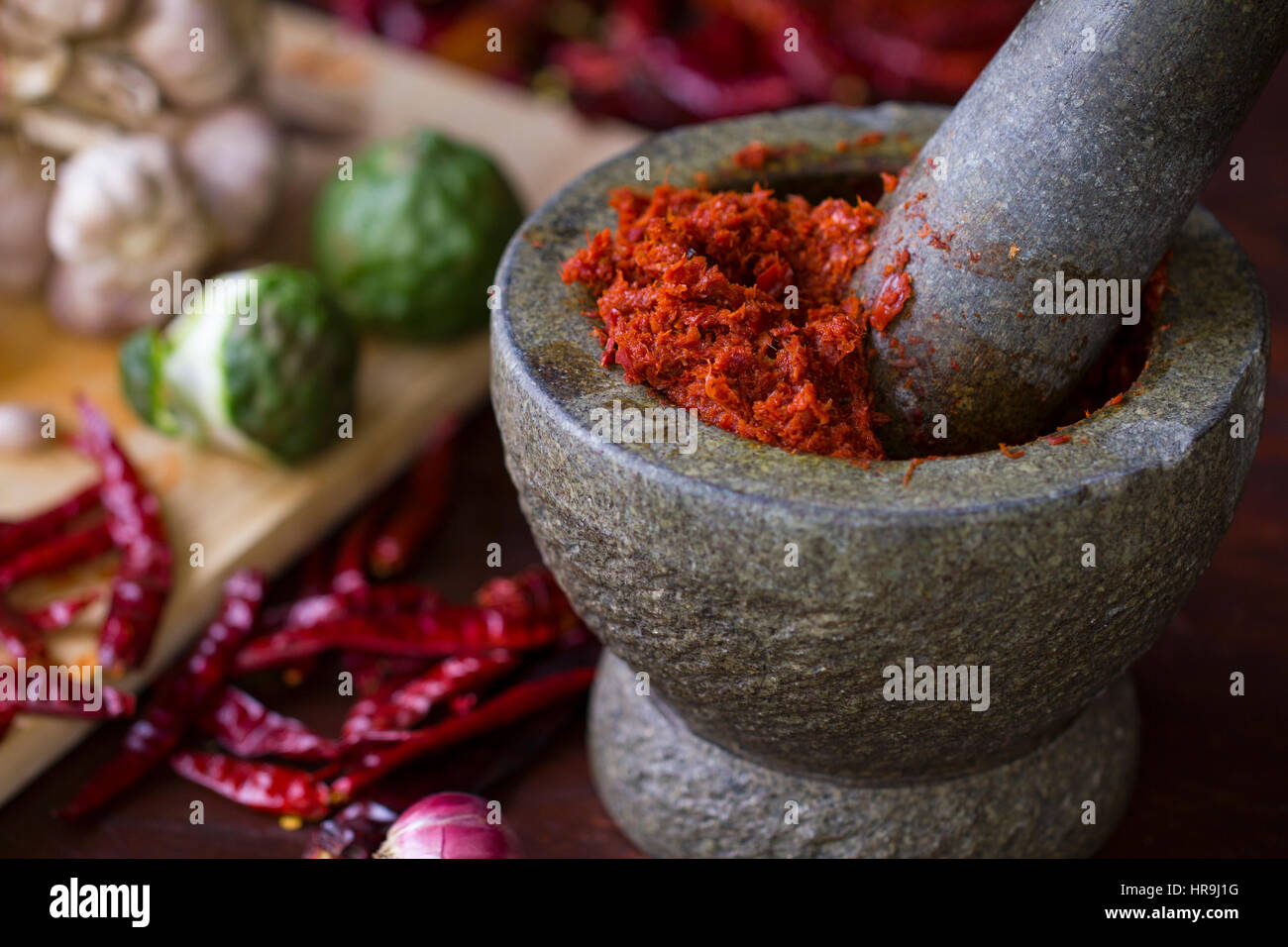 Chili paste in Thai cooking - Stock Image