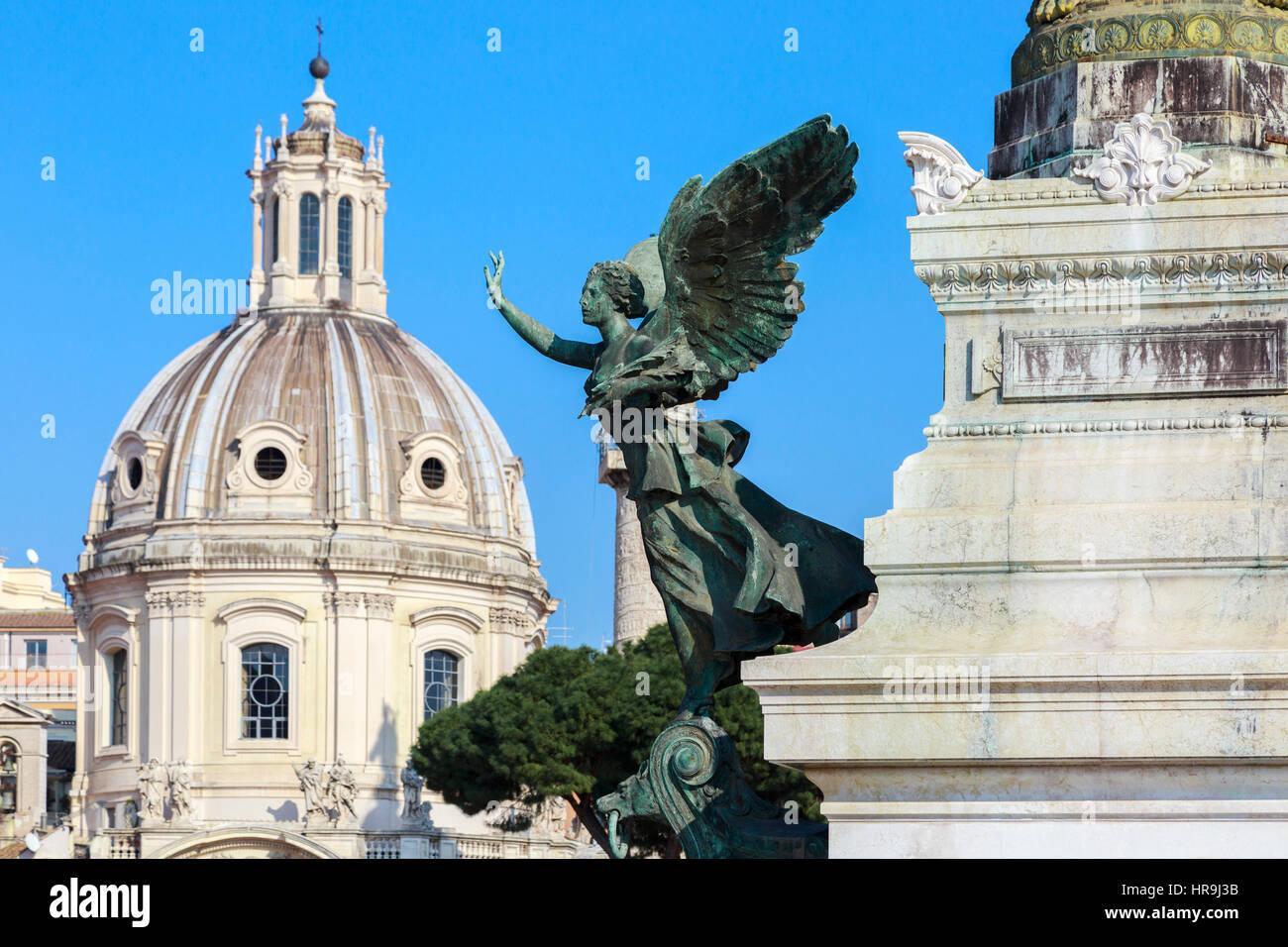 Statue detail outside monument to Vittorio Emanuele,  Via San Marco, Piazza Venezia, Rome, Italy - Stock Image
