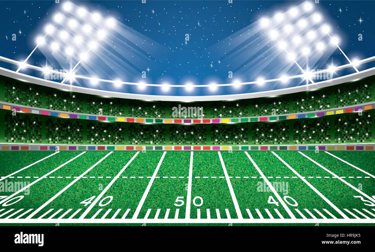 American Football Stadium Arena Vector Illustration Stock