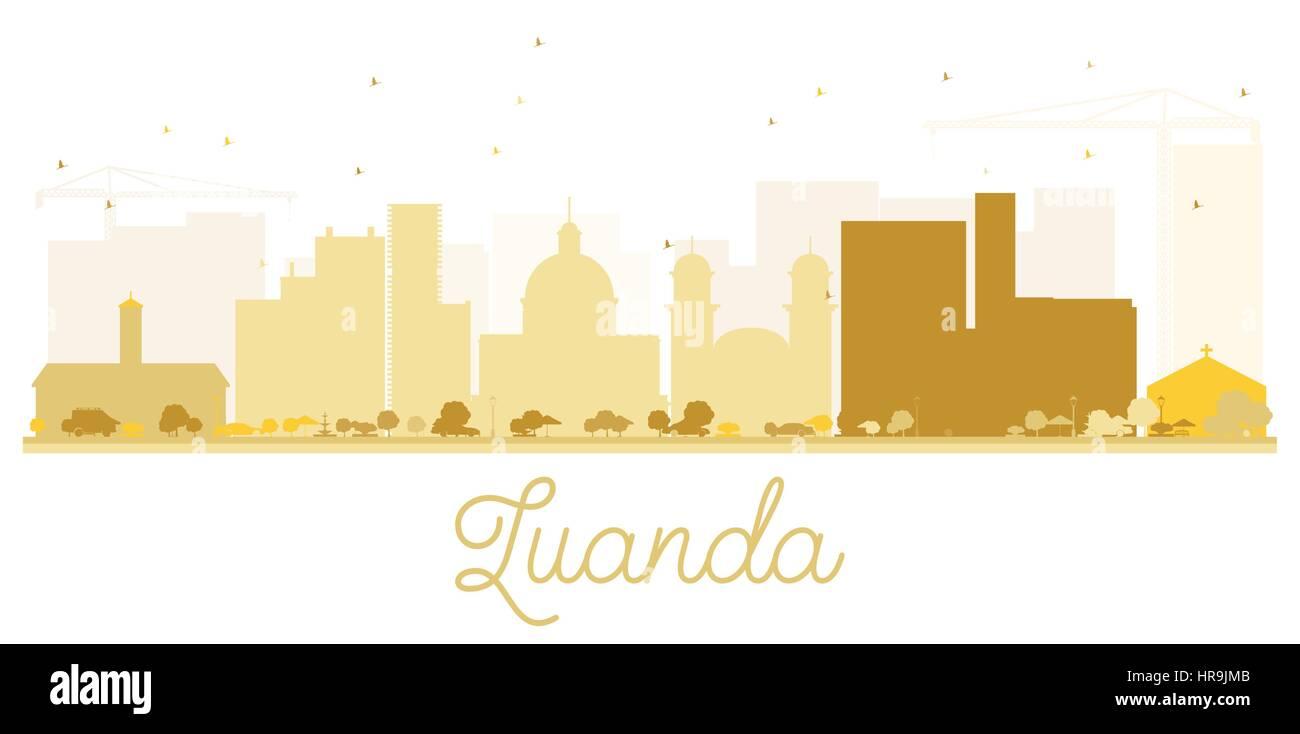 Luanda City skyline golden silhouette. Vector illustration. Simple flat concept for tourism presentation, banner, - Stock Vector
