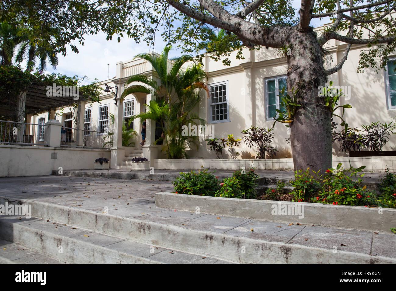 Havana, Cuba - February 2,2017: House Finca Vigia where Ernest Hemingway lived from 1939 to 1960.From the back veranda Stock Photo