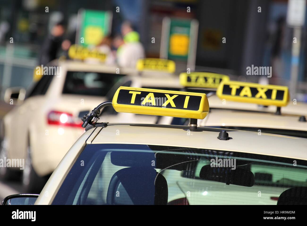 German taxi cabs waiting for passengers Stock Photo