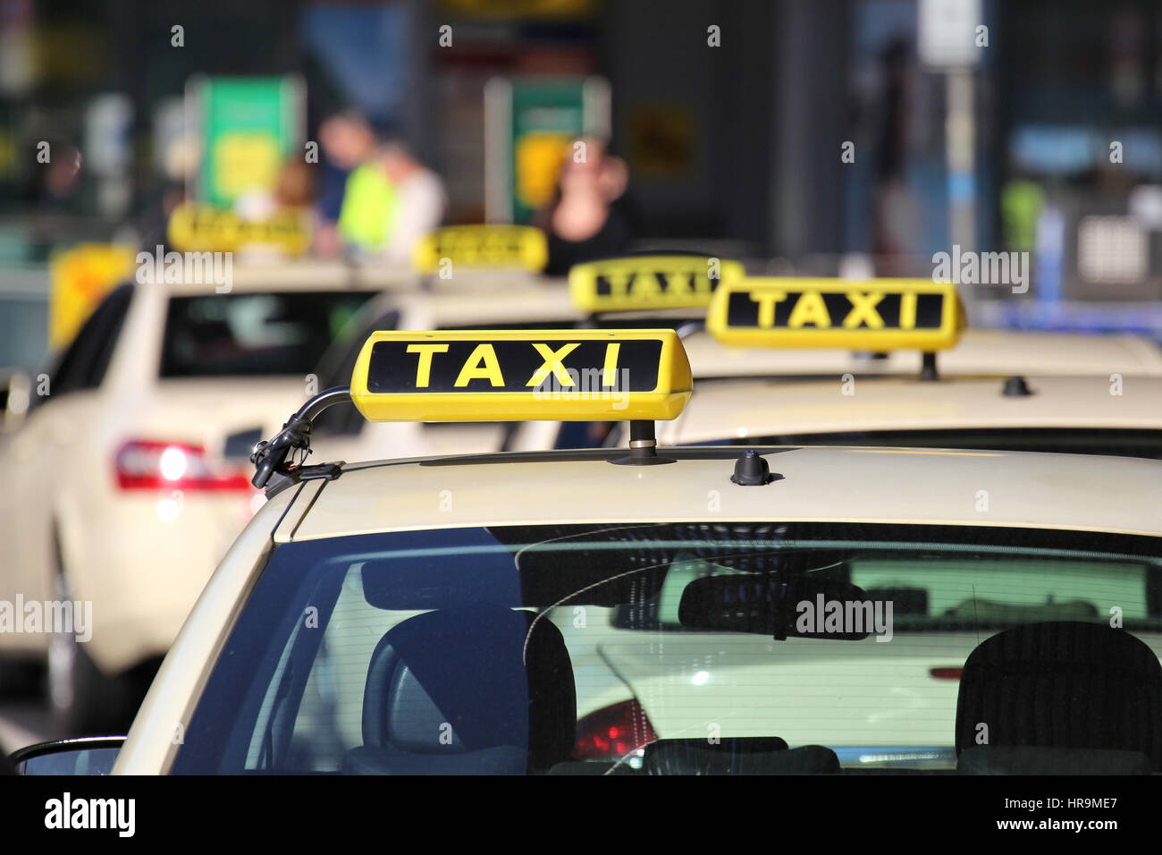 German taxi cabs waiting for passengers - Stock Image