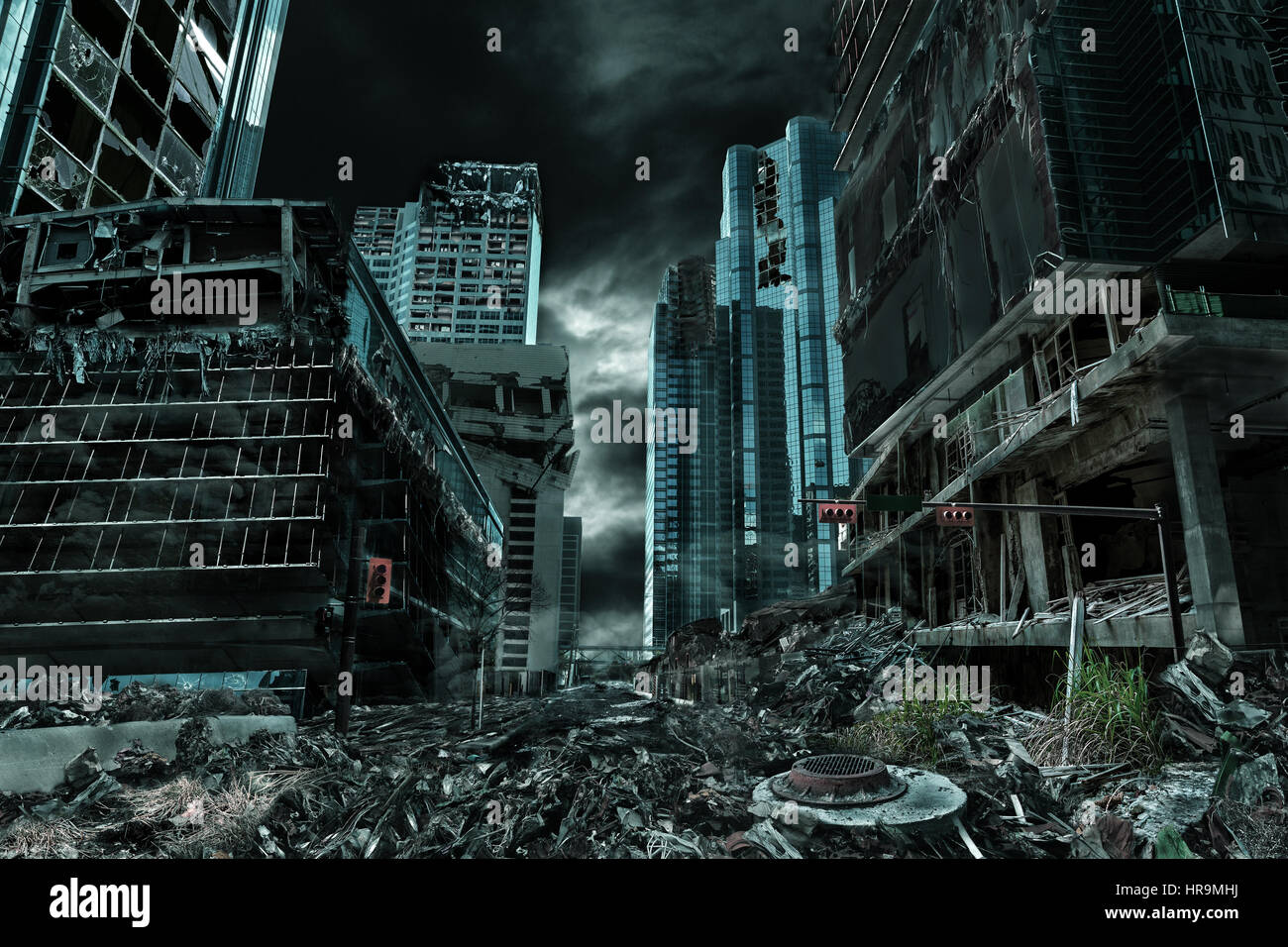 Detailed destruction of fictitious city with debris and collapsing structures. Concept of war, natural disasters, - Stock Image