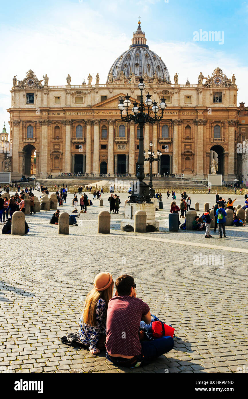 St. Peter's Basilica, Vatican City, Rome, Italy - Stock Image