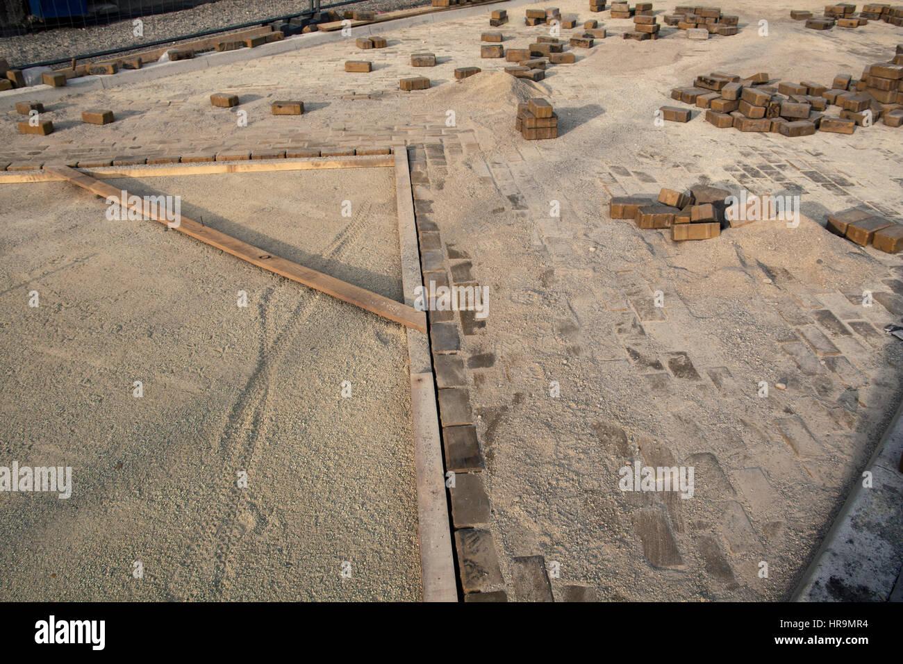 Construction Of Yellow Brick Road - Stock Image