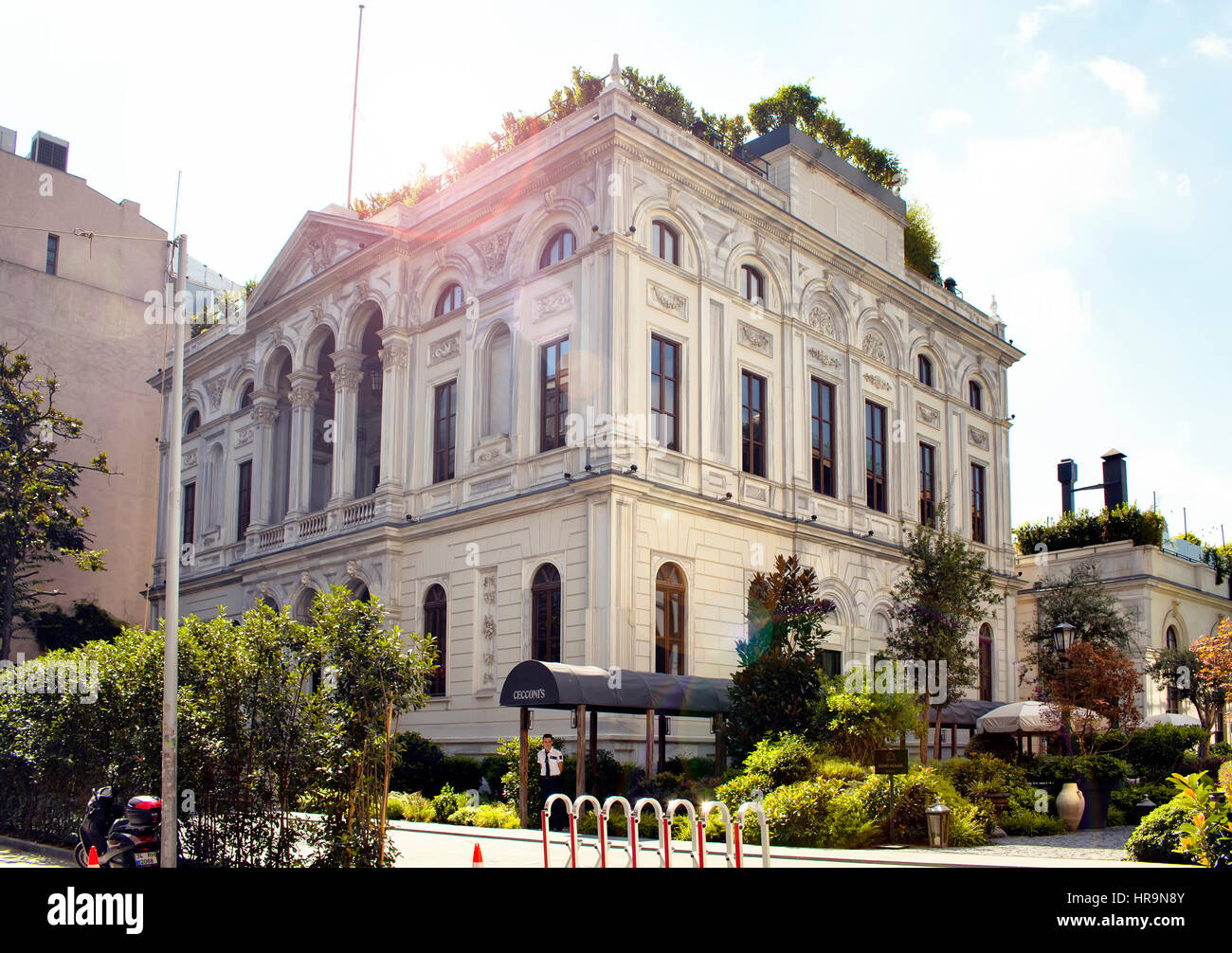 View of Soho House Club with lens flares in Pera area in Beyoglu district of Istanbul Stock Photo
