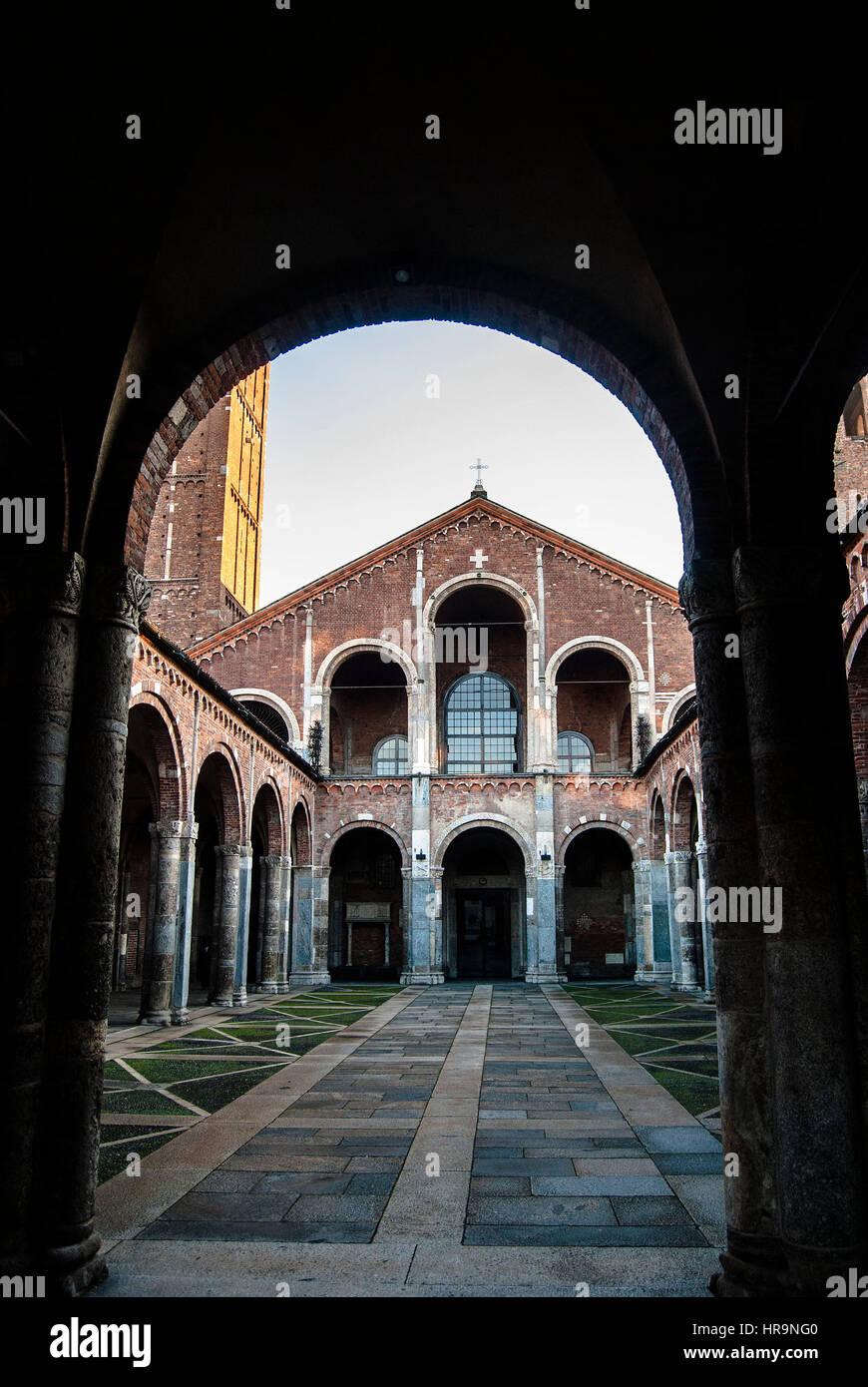 Basilica di Sant'Ambrogio, Milano - Stock Image