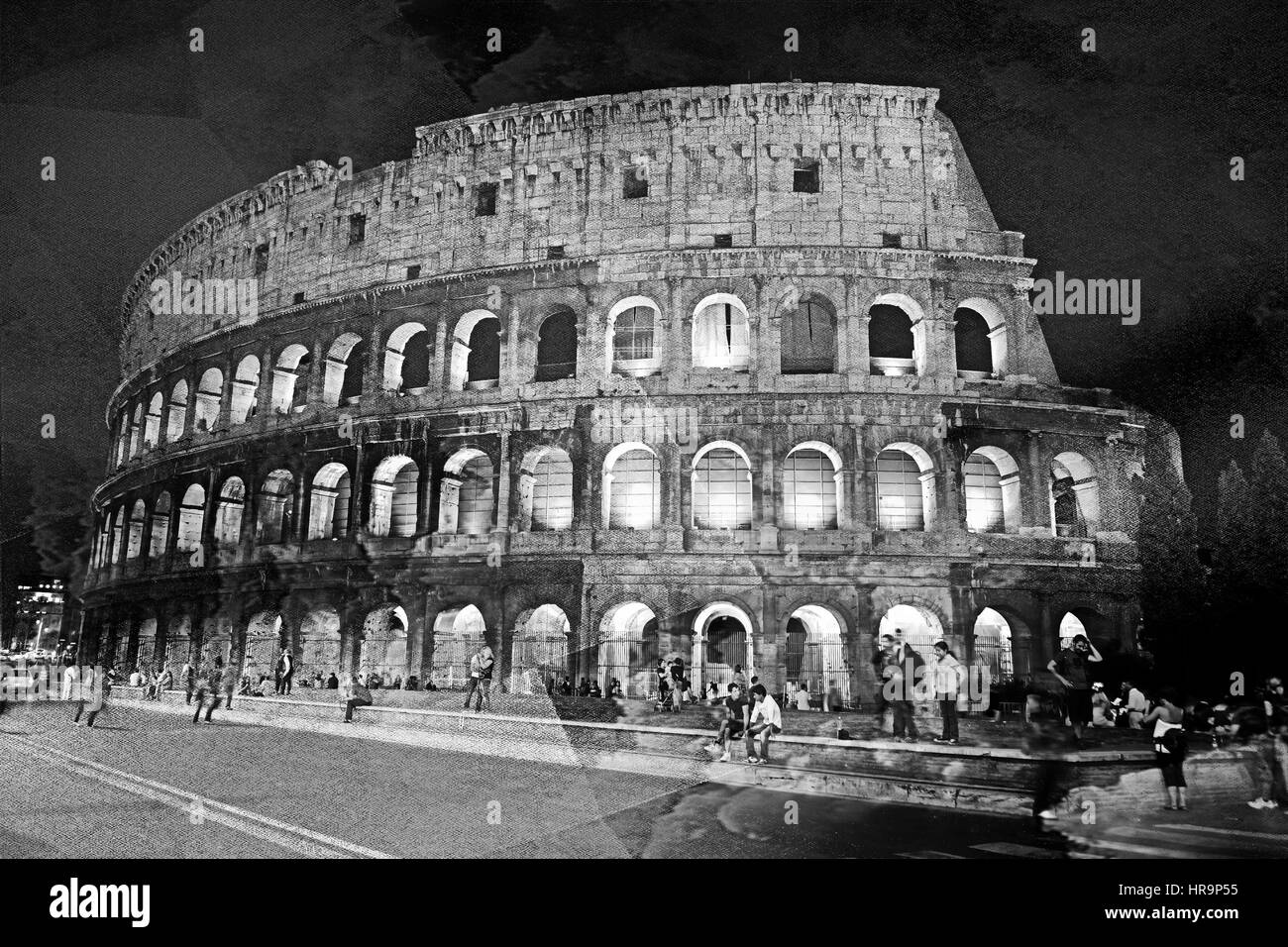 Textured image of the colosseum in Rome - Stock Image