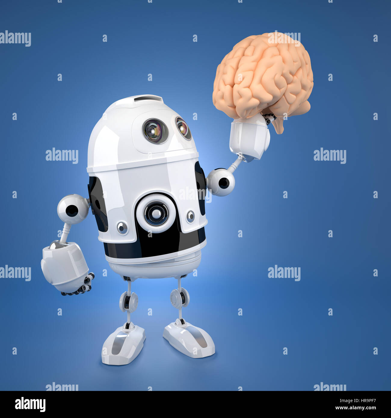 Android robot holding brain. Artificial intelligence concept Stock Photo