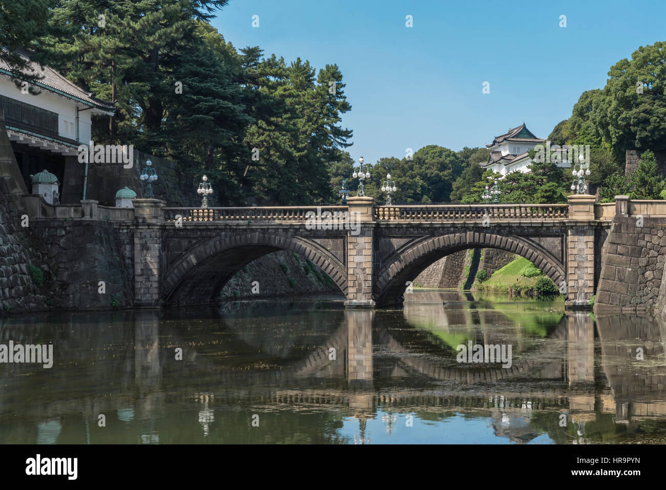 The Tokyo Imperial Palace is the primary residence of the Emperor of Japan. It is a large park-like area located - Stock Image