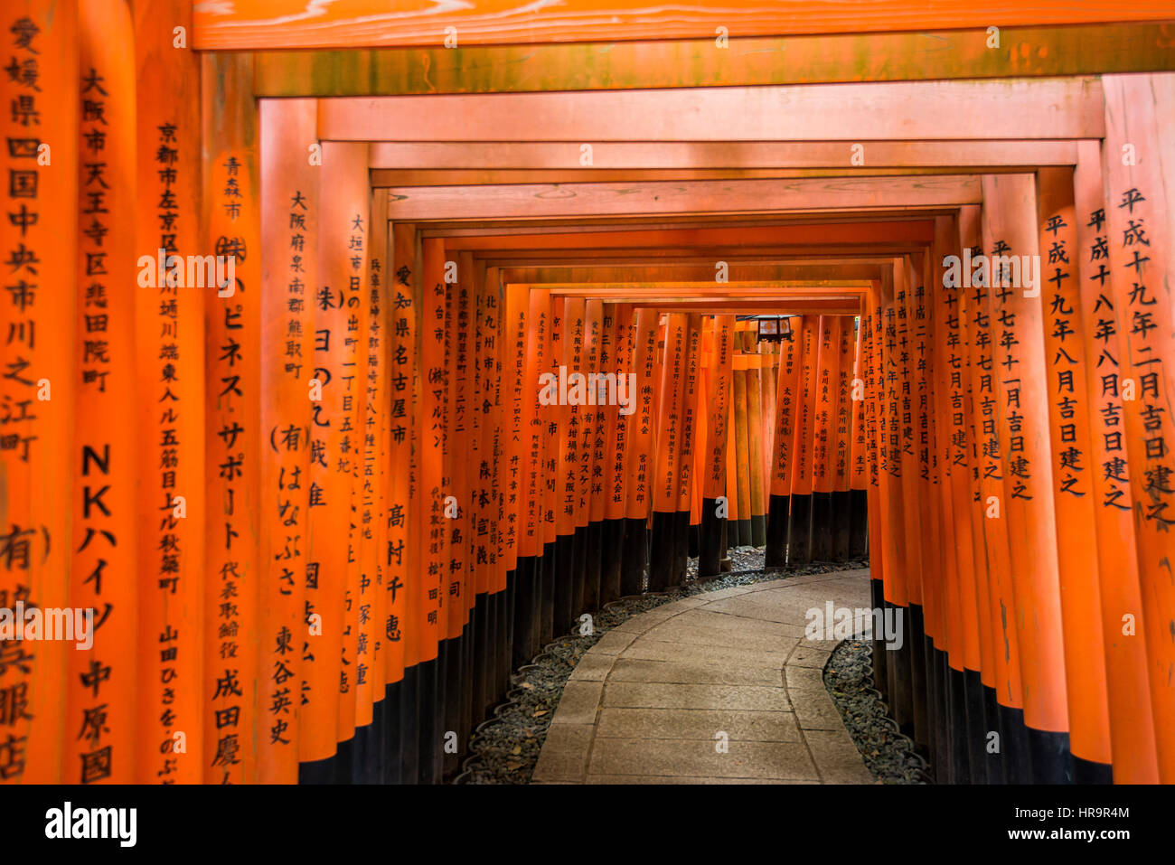 Thousands of Torii gates at Fushimi Inari Taicha, Kyoto, Japan - Stock Image