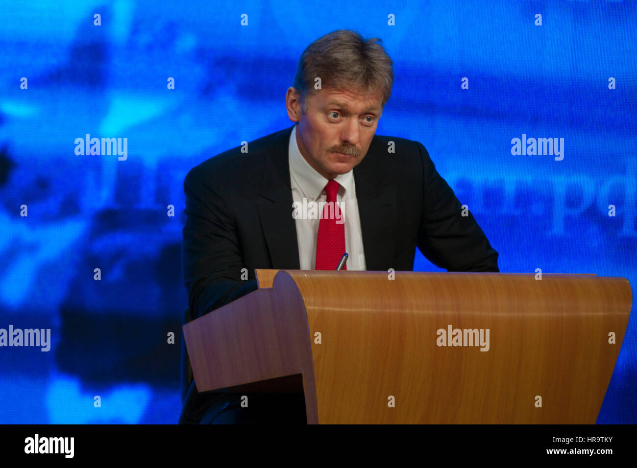 Moscow, Russia. 18th Dec, 2014.Presidential Press Secretary Dmitry Peskov during the annual press conference by - Stock Image
