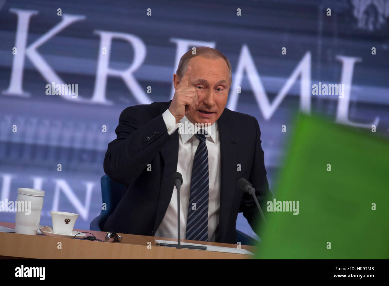 Moscow, Russia. 17th Dec, 2015. Russian president Vladimir Putin during the annual press conference at the World Stock Photo