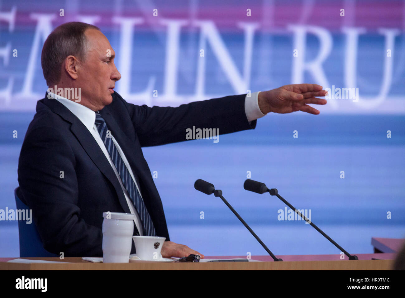 Moscow, Russia. 17th Dec, 2015. Russian president Vladimir Putin during the annual press conference at the World - Stock Image