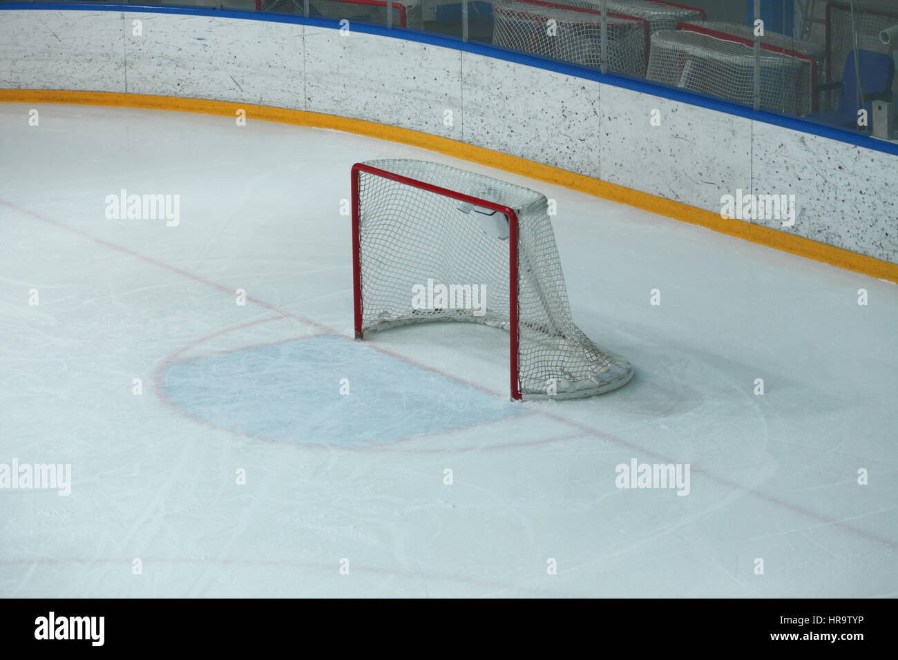 Empty hockey gate before the a hockey match - Stock Image