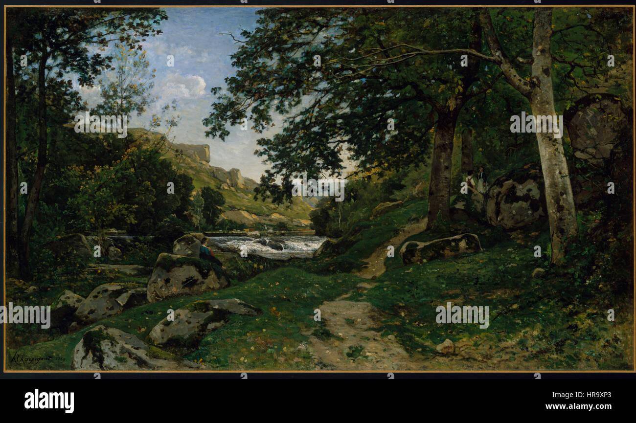 The Rocky Path in the Morvan, Chemin des roches dans le Morvan, by Henri-Joseph Harpignies - Stock Image