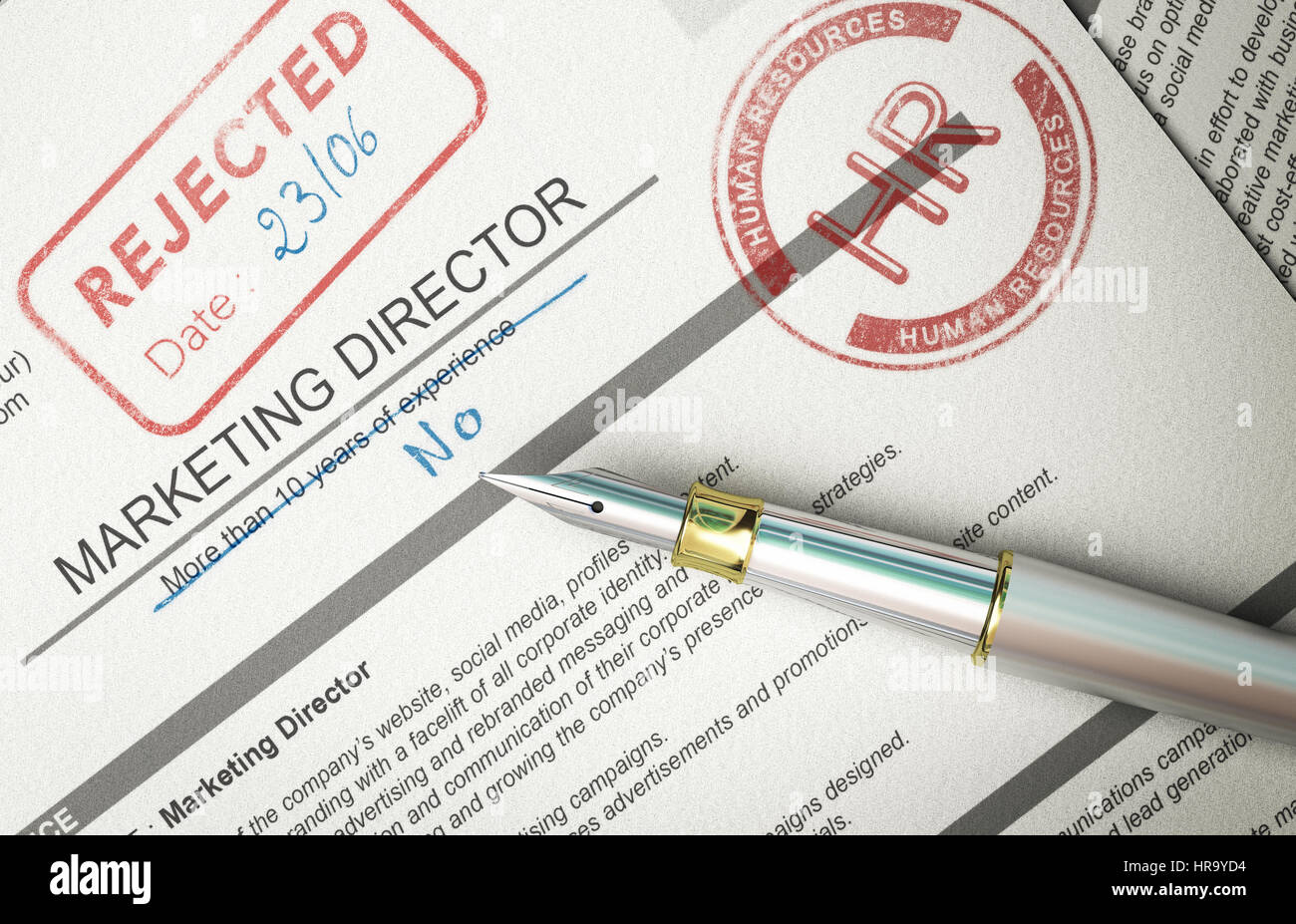 Resume with HR and rejected rubber stamps and handwritten comments. Concept of fake resume. 3D illustration. - Stock Image