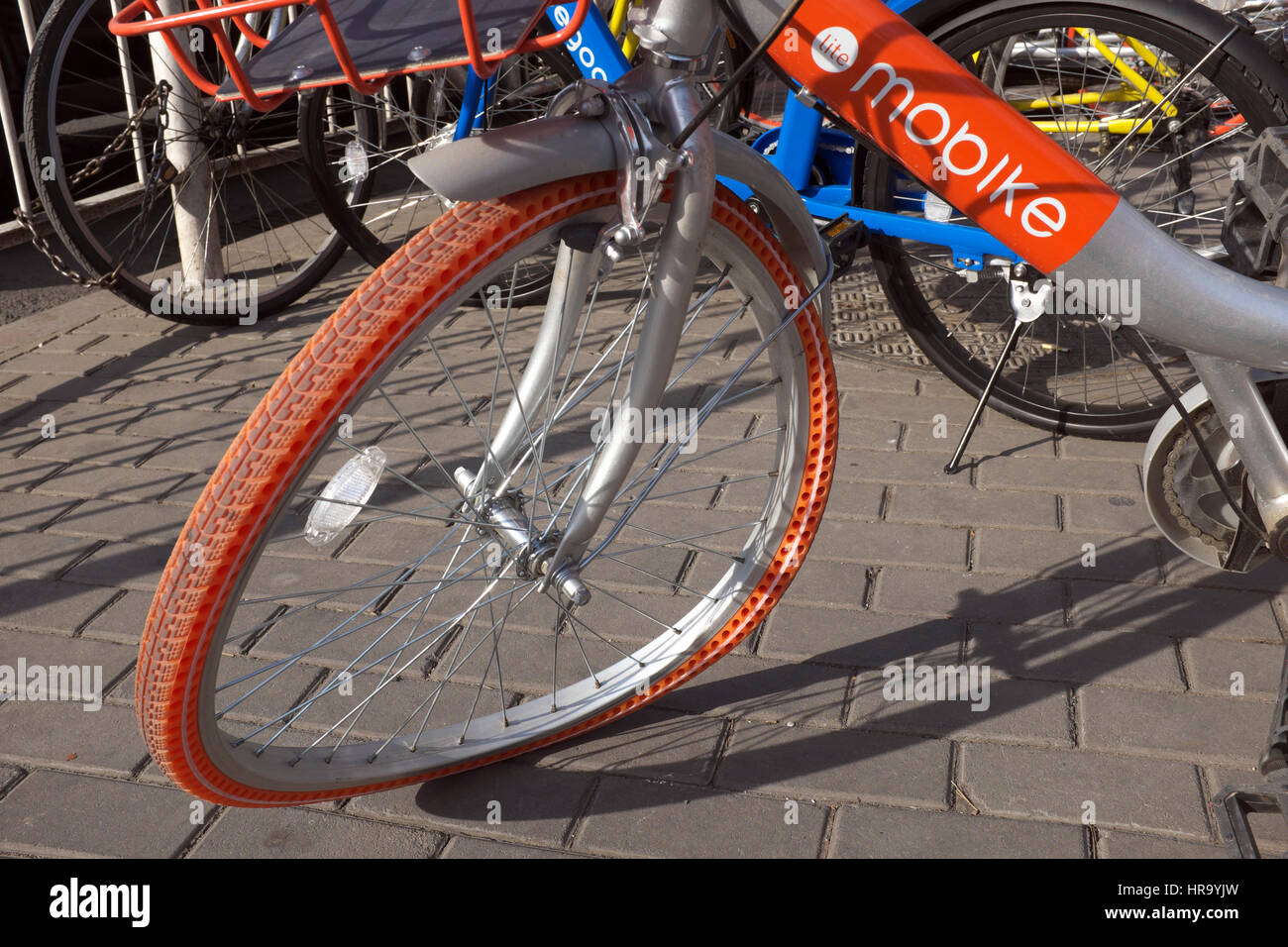A bike-sharing bicycle is ruined in Beijing, China. 28-Feb-2017 - Stock Image