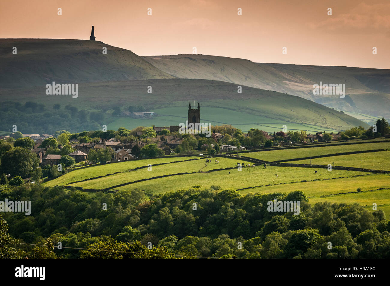Heptonstall church and Stoodley Pike near Hebden Bridge in West Yorkshire - Stock Image