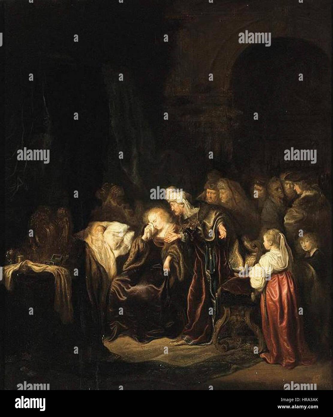 b8b1367bc6fe Salomon Koninck - David and Batsheba Mourning over Their Dead Son -  WGA12248 - Stock Image