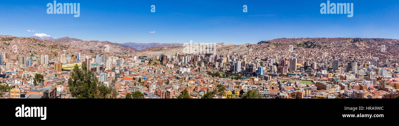 Panoramic view of La Paz with Illimani Mountain - La Paz, Bolivia - Stock Image